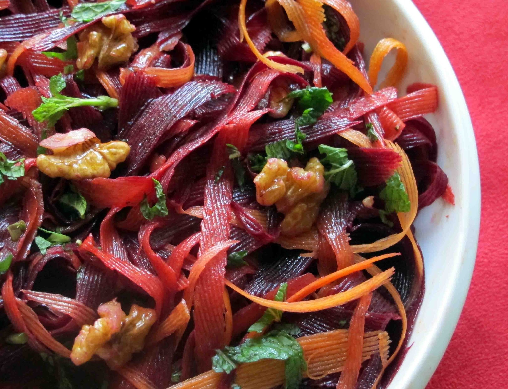 Purple and Orange Carrot Salad with a Walnut Oil Dressing