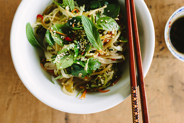 spicy rice noodle salad with pickled vegetables + sesame soy dressing {vegan + gluten-free}