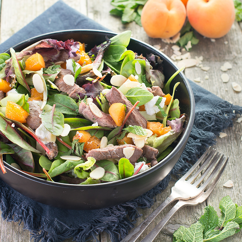 Lamb Salad with Goats Cheese, Apricots and Almonds