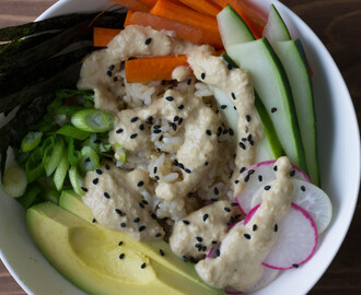 Deconstructed sushi bowl with wasabi-cashew sauce