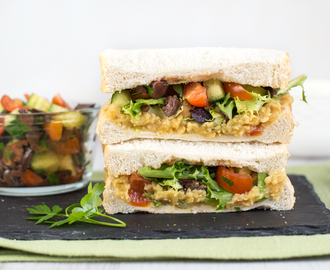 Ultimate vegan sandwich with red lentil spread