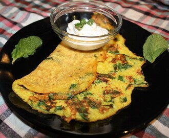 Yellow Moong Dal and Spinach Pancake