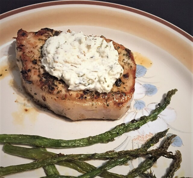 Pork Chops with Herb Goat Cheese Butter and Asparagus