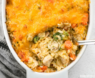 Cheesy Chicken Vegetable and Rice Casserole