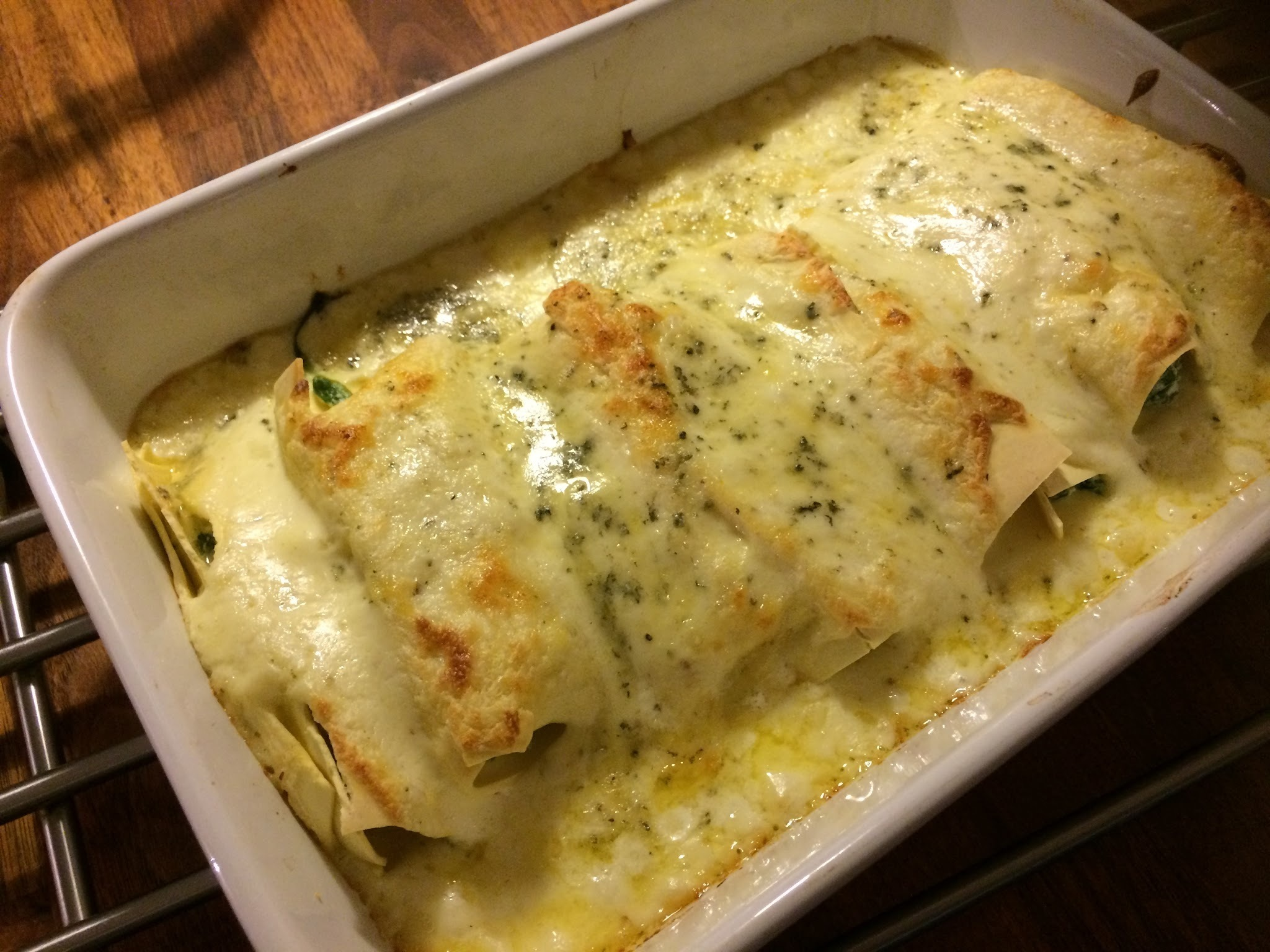 Cannelloni med lax, spenat och stilton