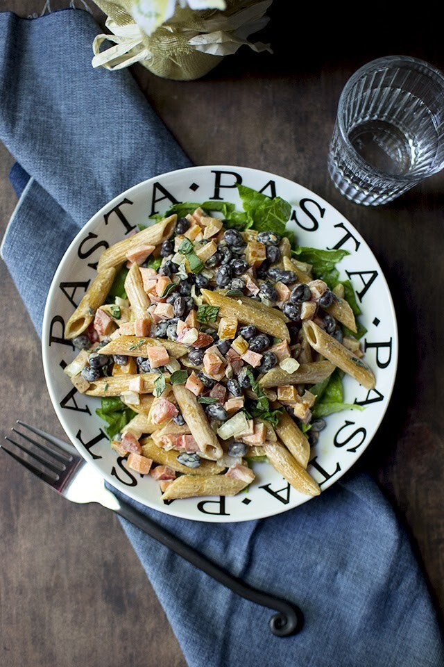 Pasta Salad with Black Beans (Vegan recipe)