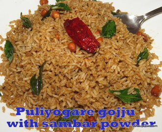 Puliyogare by using sambar powder recipe