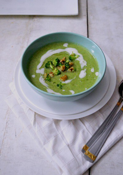 Broccoli Soup with Toasted Walnuts