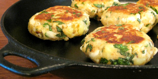 Feta, Basil and Hoki Potato Cakes