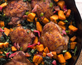 One Pot Crispy Chicken Thighs with Kale and Sweet Potatoes
