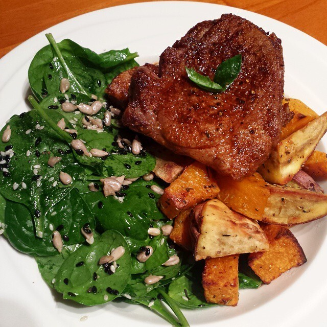 Grilled Lamb Steak, Spinach & Seed Salad & Traditional...
