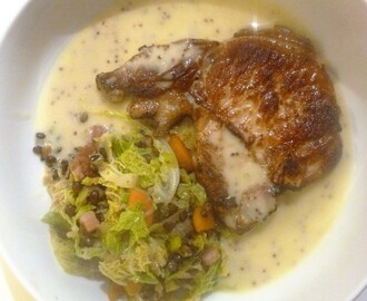 Hearty Pork Chops, Lentil Ragout and Cider and Mustard Sauce Recipe