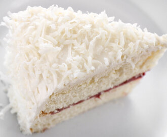 Coconut & Buttermilk Layer Cake with Strawberry Filling