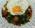 Breakfast Hash with Potatoes, Kale, Peppers and Green Peas