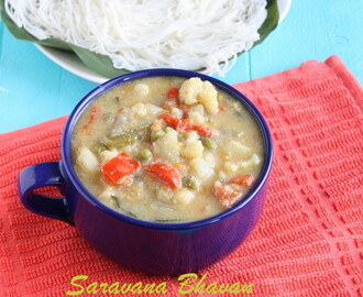 Saravana Bhavan Vegetable Kurma | White Vegetable Kurma | White Korma