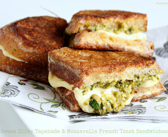 Green Olive Tapenade & Mozzarella French Toast Sandwiches