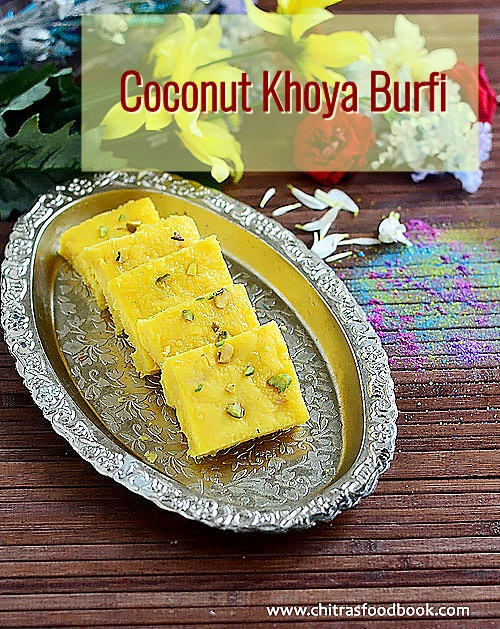 Coconut Khoya Burfi Recipe – Nariyal Ki Barfi With Khoya
