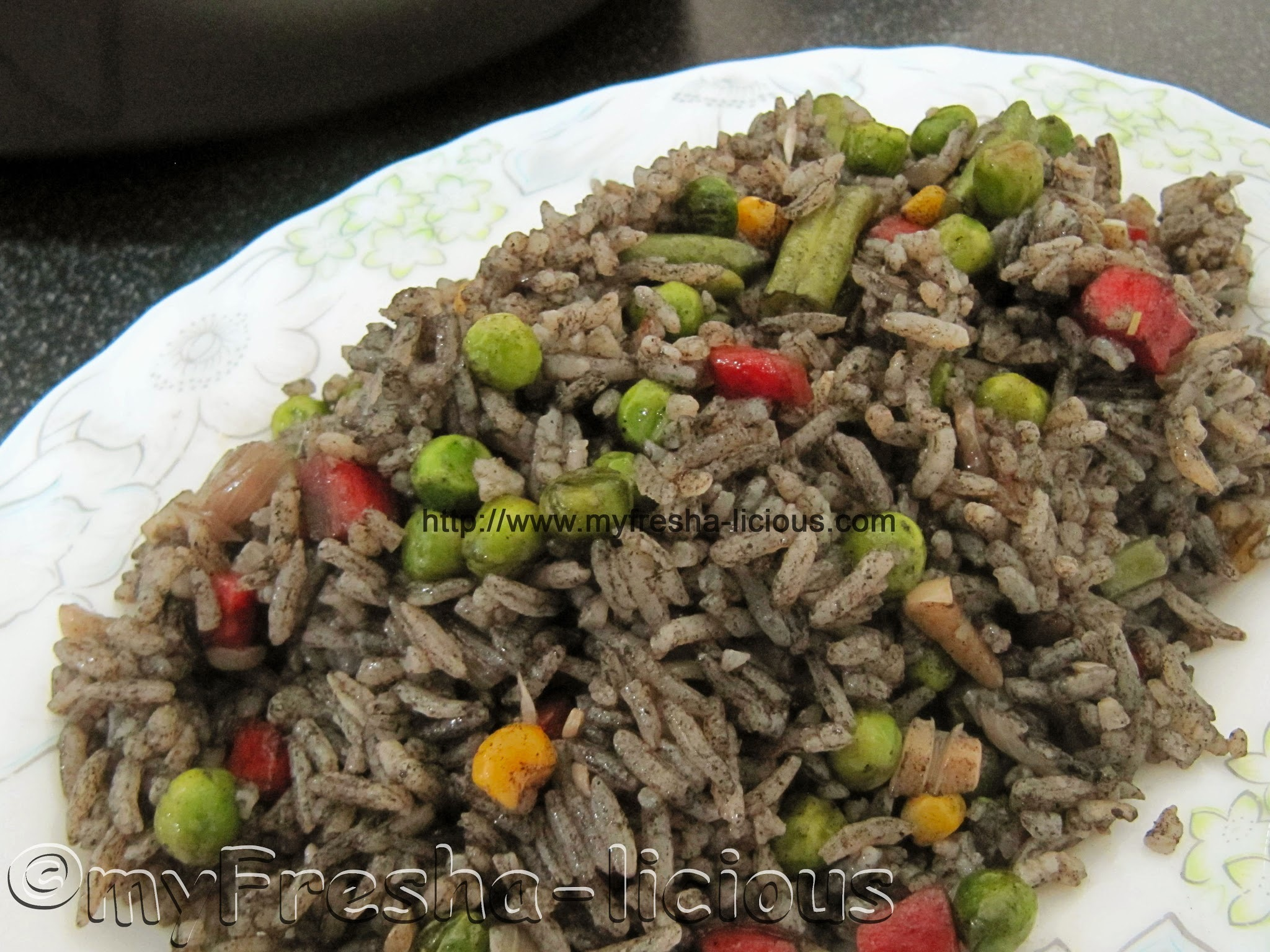 Fried Rice in Cuttlefish Ink