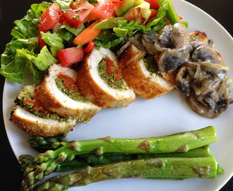 Crusted Broccoli Pesto Stuffed Chicken with Mushroom Sauce