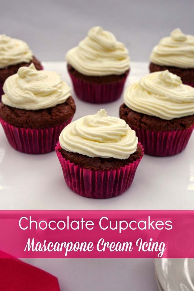 Chocolate Cupcakes with Mascarpone Cream Icing