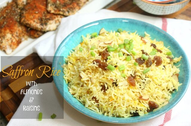 Saffron Rice with Almonds and Raisins