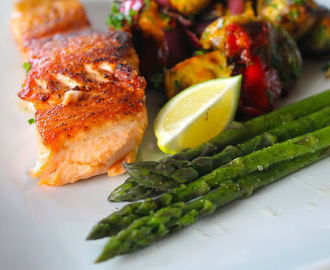 Simple Salmon with Asparagus and Chargrilled Vegetable Salad