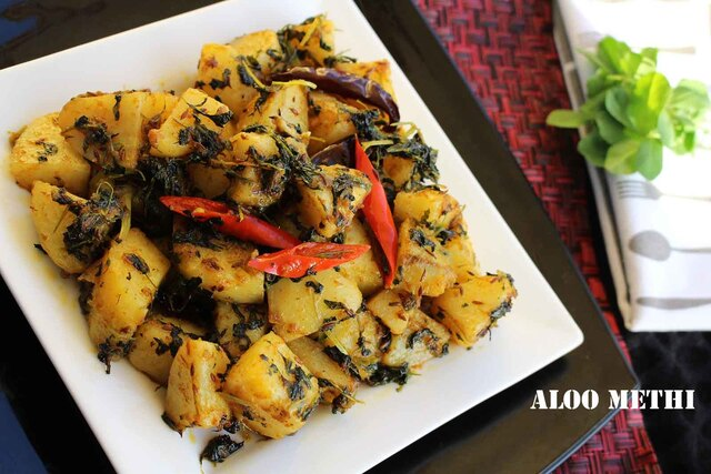 PUNJABI DISHES - ALOO METHI / POTATOES WITH FENUGREEK LEAVES