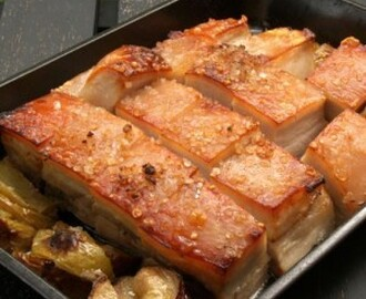 Twice Cooked Belly Pork with Apple Cider & Roasted Apple Slices