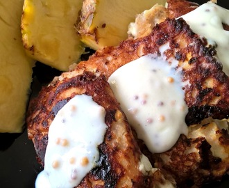 Pancakes with cottage cheese with desiccated coconut and pineapple - healthy idea for breakfast