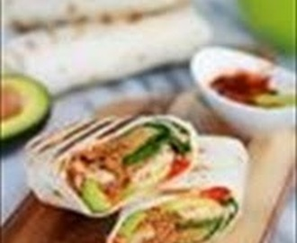 Grilled Tex-Mex Chicken and Quinoa Wraps with Spicy Tex-Mex Sauce