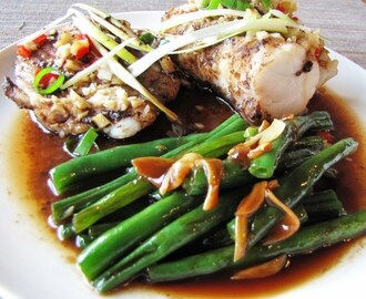 Steamed monk fish in black bean sauce