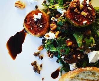 Puy Lentils with Balsamic Soaked Figs, Rocket and Walnuts with Feta