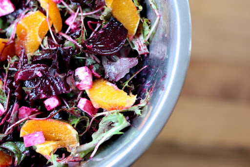 Just beet it: Roasted beetroot, caramelised onion, goats cheese and orange salad
