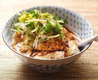 Spicy Warm Silken Tofu With Celery and Cilantro Salad Recipe