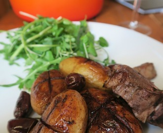 Lamb with red wine potatoes and olives