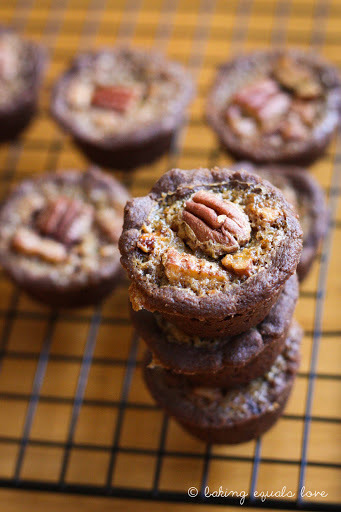 Fifty Shades of Pecan Pie: Baby Chocolate Bourbon Pecan Pies