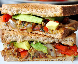 Avocado + Caramelized Red Pepper & Onion Sandwich