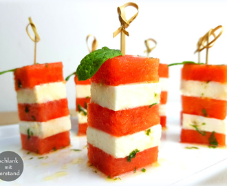 Melonen-Feta-Spieße Fingerfood low carb