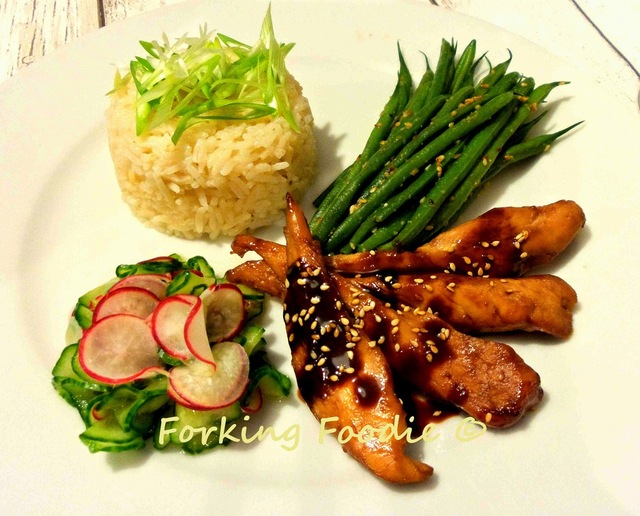 Thermomix Teriyaki Chicken or Salmon Meal with Sesame-Miso Green Beans or Asparagus, Cucumber-Radish Pickles and Rice
