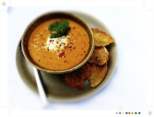 Spiced Roast Carrot and Lentil Soup with Toasted Dukkah Flat Breads