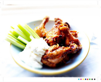 Chipotle Chicken Wings with Blue Cheese Dressing and Celery