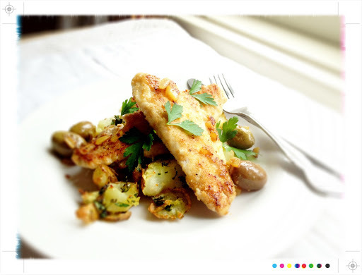 Recipes & Pan Fried Snapper with Olives & Preserved Lemon & Herby Smashed Potatoes