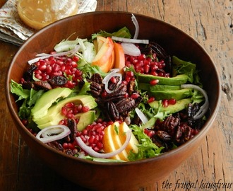 Winter Salad with Avocado, Pomegranate & Maple Glazed Pecans