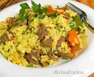 Arroz con ternera al curry