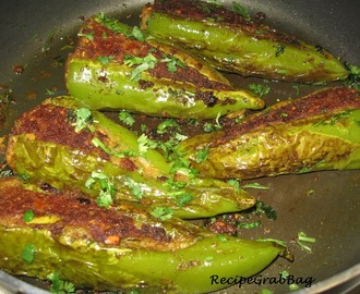 Bharleli Mirchi or (Aloo Bharwan Mirch) - Potato stuffed Anaheim Peppers