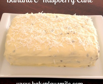 Banana and Raspberry Cake with Passionfruit Cream Cheese Frosting!