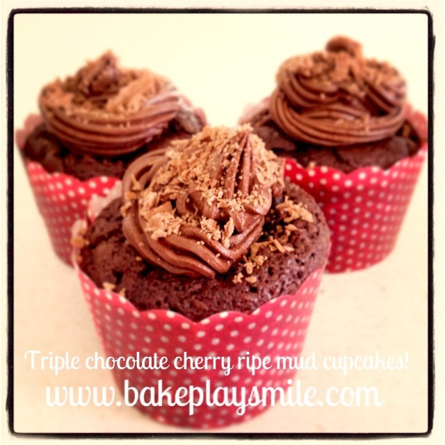 Insanely Rich Triple Chocolate Cherry Ripe Mud Cupcakes