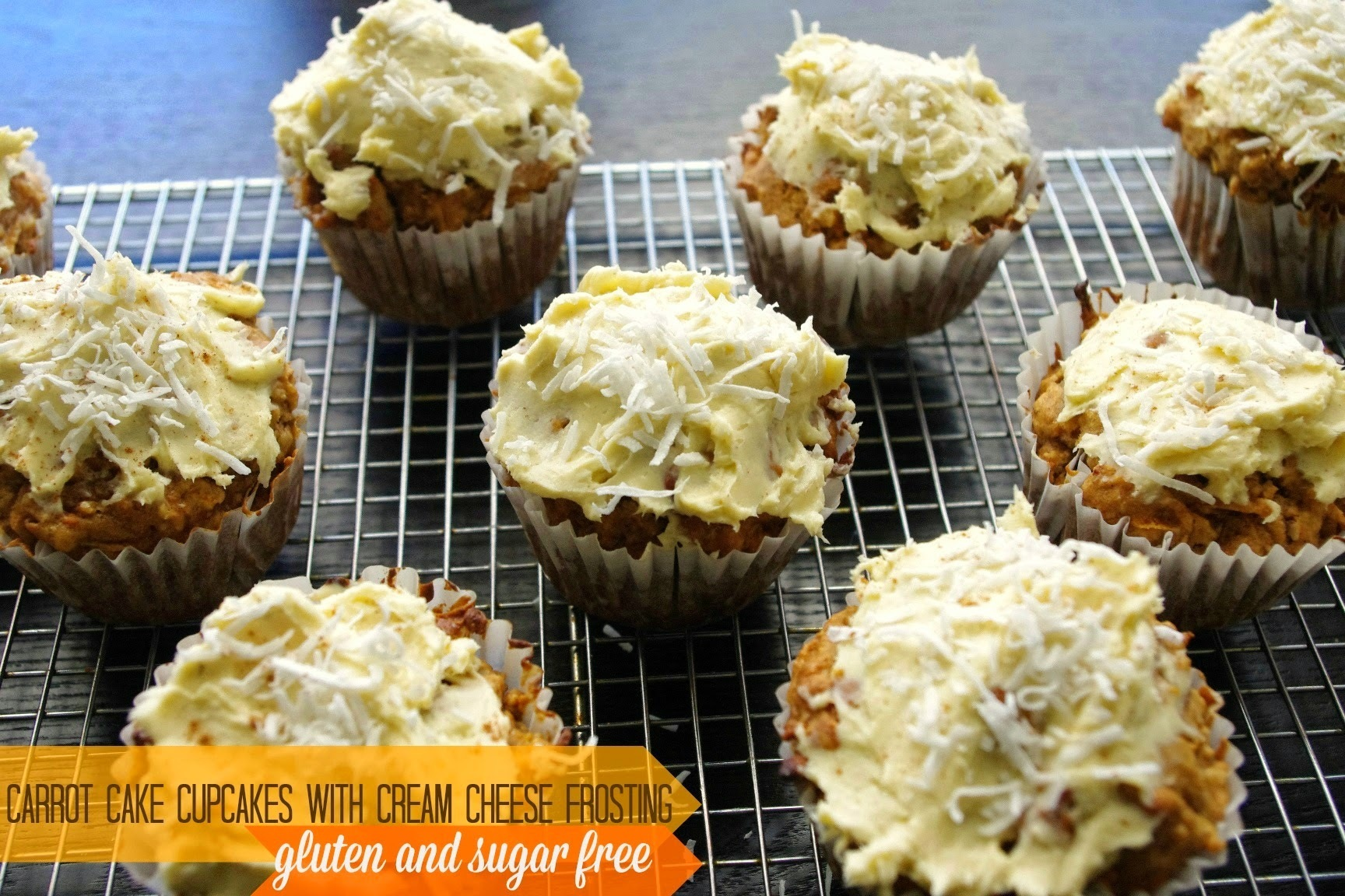 Carrot cake cupcakes with cream cheese icing - gluten and sugar free