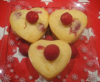 Lemon and Raspberry Heart Cakes