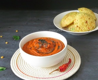 Tomato Chutney Recipe (For Idlis and Dosas)